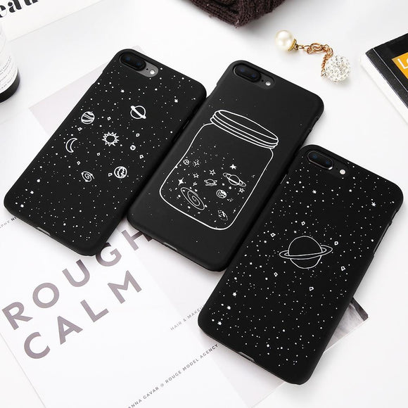Fashion Space Phone Case for IPhone 6S 7 8 Plus Cute Case Planet Moon Star Back Cover