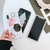 Creative Geometry Splice Pattern Marble TPU Phone Case for IPhone X Iphone8 8plus 7 7plus 6 6s 6plus Soft Silicone Nonskid Shock