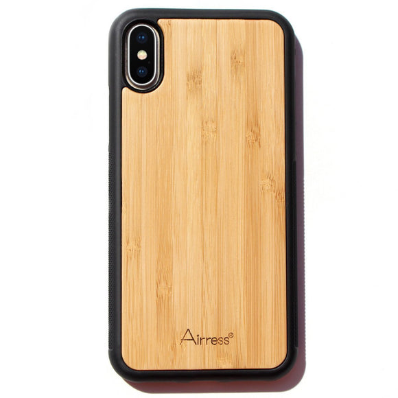 Airress Luxury Natural Touch Feeling Bamboo Case for iphone X iphone 10 iphone Ten Bamboo Cover Soft TPU Inner Shell