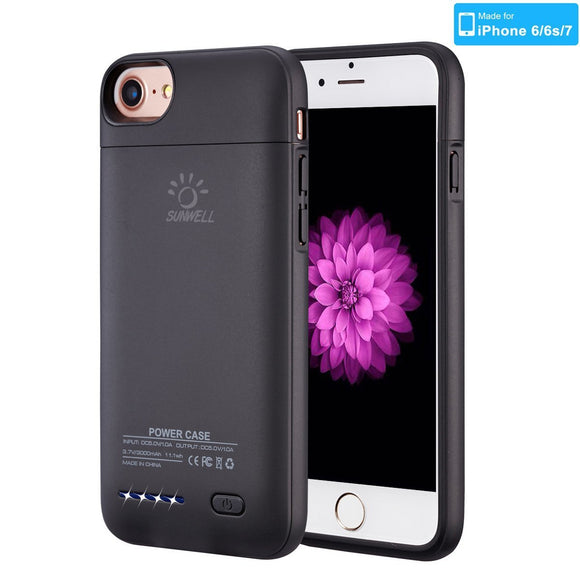 The World's Thinnest iphone 7 case battery Rechargeable Battery Backup Power Bank Charger Case Cover iPhone 7 case charger 3000mAh capacity (4.7