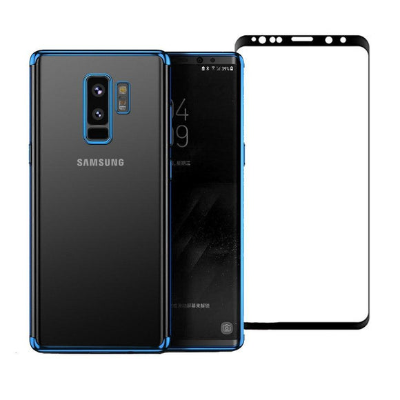 Samsung Galaxy S9 Plus Case,AMASELL Shockproof Ultra Thin Electroplate Plating Frame Crystal Clear TPU Silicone Bumper Protective Case Cover with Screen Protector for Samsung Galaxy S9 Plus,Blue