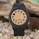 BOBO BIRD Men's Bamboo Wooden Watch with Black Cowhide Leather Strap 12 Holes Timer Design Japanese Quartz Movement Sports Casual Watches