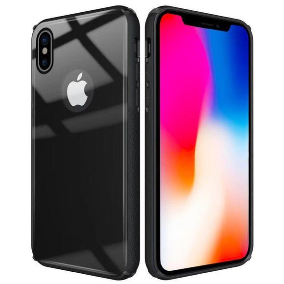 iPhone X Case,Amagel Ultra Hybrid X Case with Air Cushion Technology and Hybrid Drop Protection for Apple iPhone X (2017)TPU Bumper + Hard Tempered Glass Back Cover - Matte Black