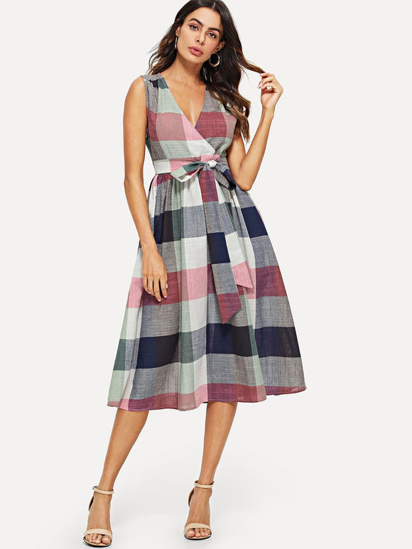 Wrap Front Belted Plaid Dress