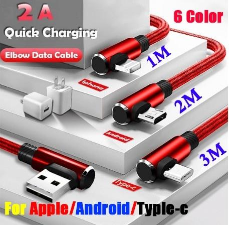 USB Data Sync Cable fast Charging Cable 90 Degree Right Angle for Iphone X 8 7 7s 7Plus 6 6s 5 5s 4 Samsung Andorid Type C Phone