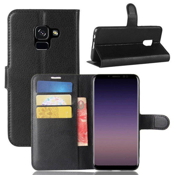 Samsung Galaxy A8 2018 Case,A8 Carry Case,AMASELL [Stand View] PU Leather Flip Cover with Card Slots Holder Folio Wallet Cases for Samsung Galaxy A8 2018,Black