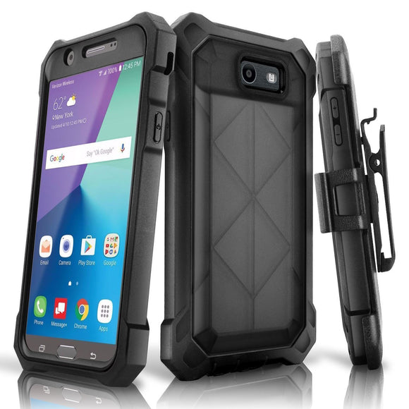Samsung Galaxy J7 2017 Case, eSamcore Full-body Protective Rugged Belt Clip Holster Case WITHOUT Built-in Screen Protector for Samsung Galaxy J7V 2017 / J7 Sky Pro / J7 Perx / J7 Prime (Black)