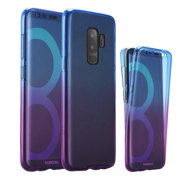 Galaxy S9 Case, ZHFLY Ultra thin Gradient Full Coverage 360 degree Protective Case Touch Screen Shockproof TPU Gel Transparent Clear Cover for Samsung Galaxy S9, Blue Purple