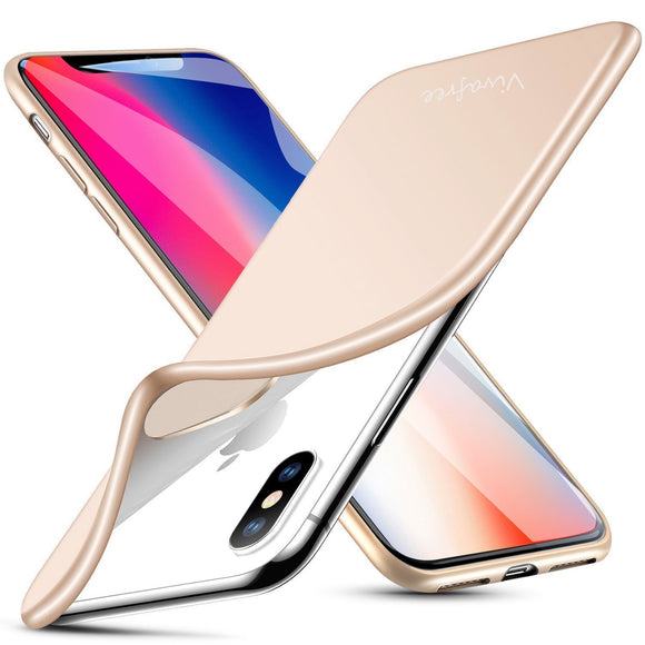 iPhone X Case, Vivafree [Minimalist Series] Premium TPU Slim Fit Matte Full Protection Shock Proof Cover Case [Supports Wireless Charging] for Apple iPhone X / iPhone 10 (2017 ) - Champagne Gold