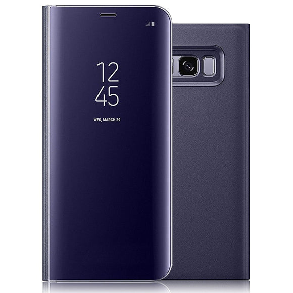 For Galaxy S8 Case,Electroplating Ultra-thin Translucent Mirror Clear Luxury Shockproof Protective Metal Aluminum Smart View Sleep/Wake Up Function Flip Stand Cover Case for Samsung Galaxy S8 Purple