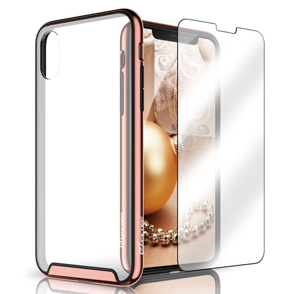 iPhone X Case, eSamcore Protective Slim Hard Clear Back Case Cover with Tempered Glass Screen Protector [Shockproof Bumper] for Apple iPhone X 2017 [Blush Gold]