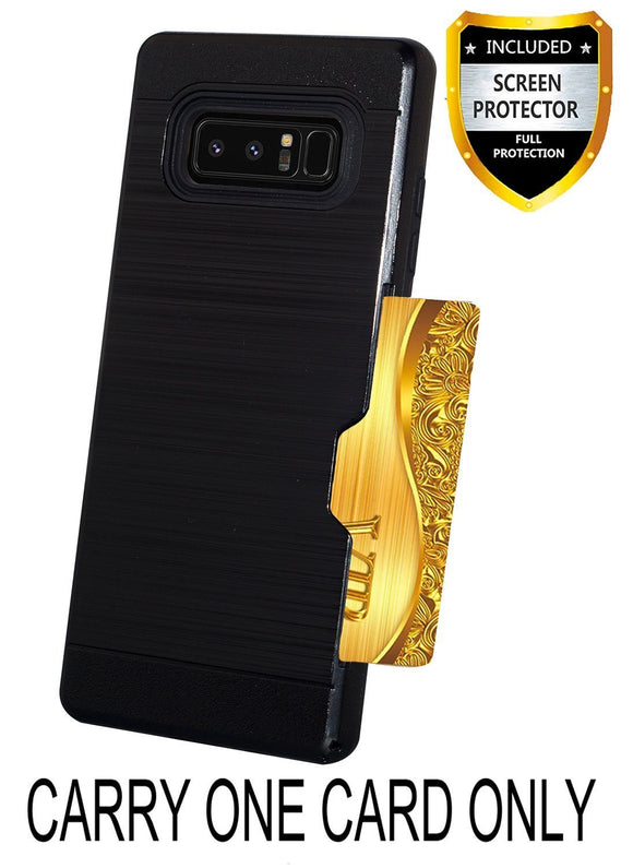 KACHEN Samsung Galaxy Note 8 Case, [Tempered Glass Screen Protector] Card Slots Holder Design, KACHEN TPU Wallet Cases Cover (Black)