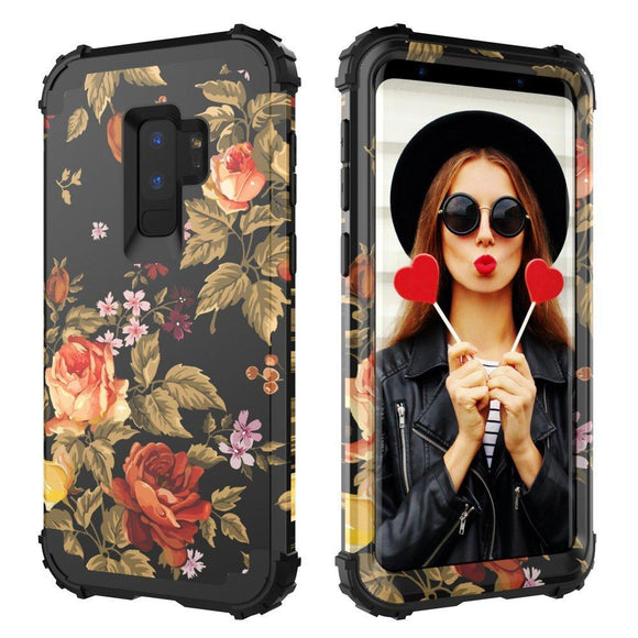Galaxy S9 Plus Case,Digital Hutty 3 in 1 Shockproof Heavy Duty Full-body Protective Cover for Samsung Galaxy S9 Plus 2018 Release Flower