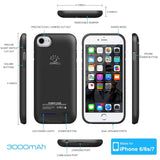"The World's Thinnest iphone 7 case battery Rechargeable Battery Backup Power Bank Charger Case Cover iPhone 7 case charger 3000mAh capacity (4.7"" iPhone 7 Black)"