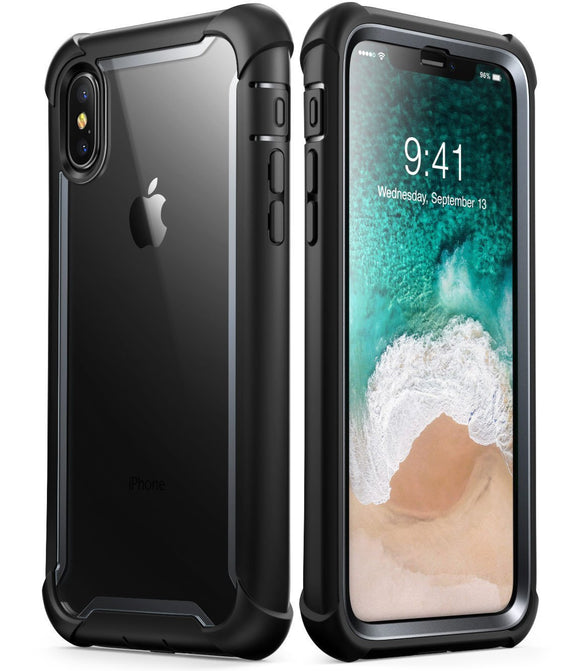 iPhone X case, i-Blason [Ares] Full-body Rugged Clear Bumper Case with Built-in Screen Protector for Apple iPhone X 2017 Release (Black)