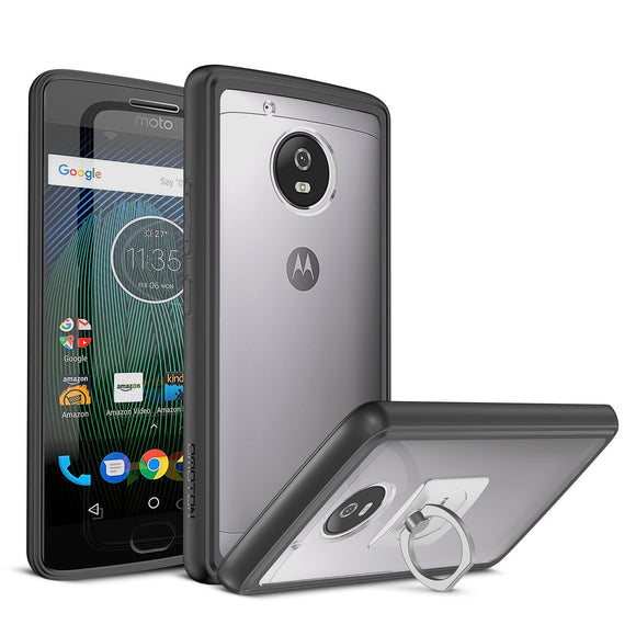 Moto G5 Plus Case with Finger Ring Stand - OMOTON Slim Fit Premium Matte Flexible TPU Edges Hard PC Back Panel Hybrid Protective Clear Case for Motorola Moto G5 Plus [5.2 Inch] (2017 Release)