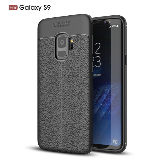 Samsung Galaxy S9 Case,AMASELL Litchi Grain Phone Cover [Scratch Resistant] Lightweight Soft Slim Flexible TPU Silicone Protective Phone Case Shell for Galaxy S9,Black