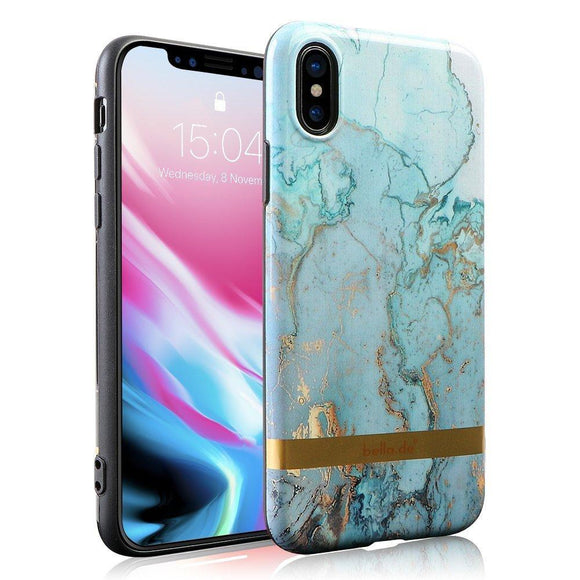iPhone x Case, Non slip soft TPU iPhone x case for Women Marble pattern iPhone x case, Bella.de Colorful Protective Case Marble like Texture [Support Wireless Charging](Colorful gray)