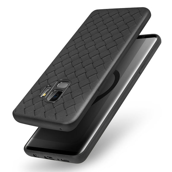 Galaxy S9 Case, AICase Slim Fit Shell Soft Matte Texture Full Protective Flexible Anti-Scratch Anti-Shock Cover Case Breathable Plaid Weaved TPU Gel Case for Samsung Galaxy S9 (Black)