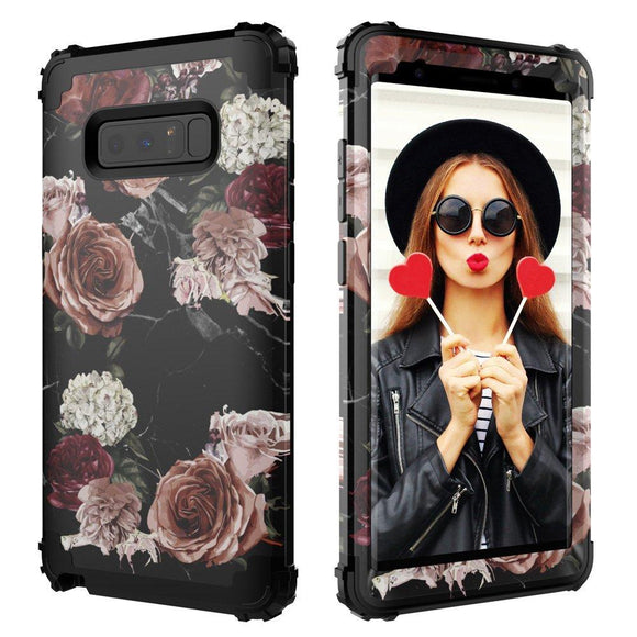 Galaxy Note 8 Case,Digital Hutty 3 in 1 Shockproof Heavy Duty Full-body Protective Cover for Samsung Galaxy Note 8 2017 Release Marble Flower