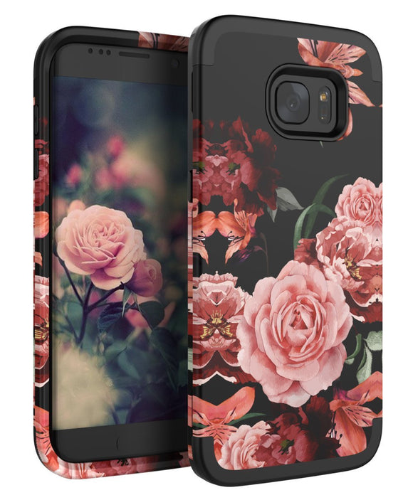 TIANLI Samsung Galaxy S6 EDGE Case Cute Flowers for Girls/Women Smooth Surface Three Layer Shockproof Protective Cover,Floral Black
