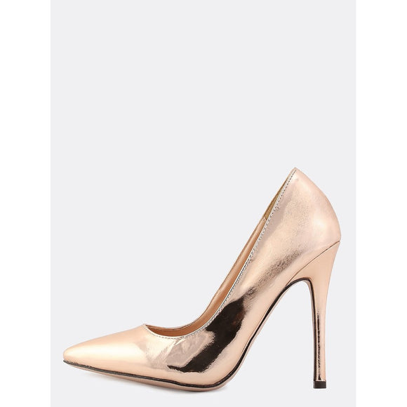 Metallic Pointy Toe Pumps ROSE GOLD