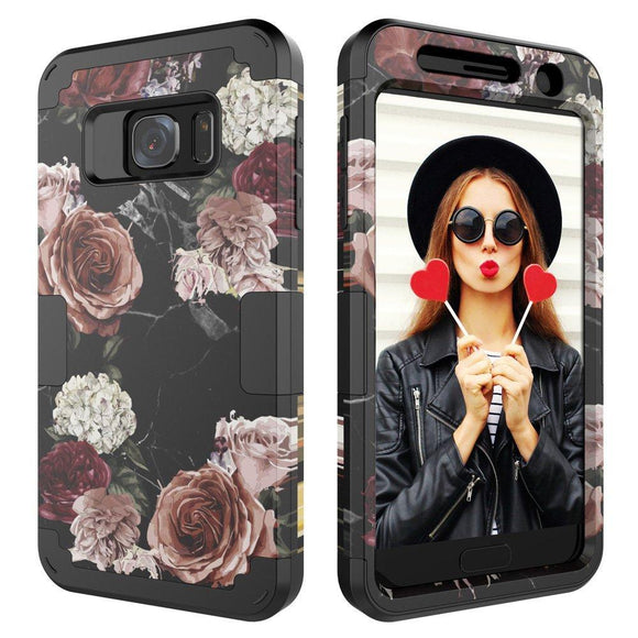 Galaxy S7 Case,Digital Hutty 3 in 1 Shockproof Heavy Duty Full-body Protective Cover for Samsung Galaxy S7 Marble Flower