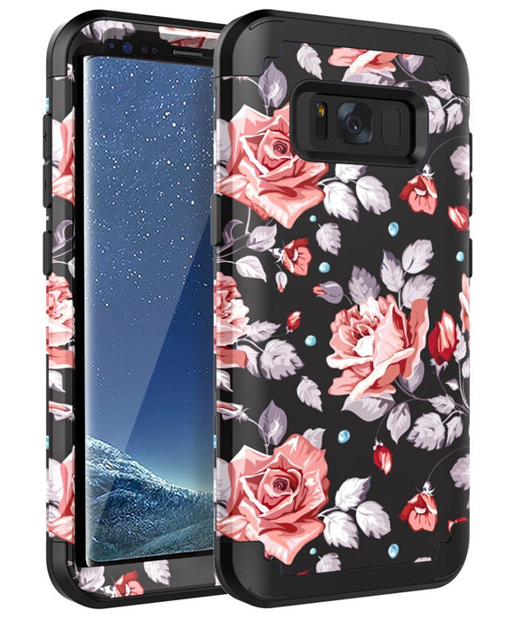 AoCase Samsung Galaxy S8 Case Galaxy S8 Case Three Layer Heavy Duty Hybrid PC + Rubber Silicone High Impact Resistant Protective Cover Case For Samsung Galaxy S8 Rose Flower/Black