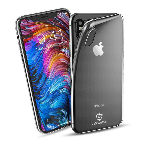 iPhone X Clear Case, PORTHOLIC Thin Protective Phone Cover for Apple iPhoneX / iPhone 10 [Anti Scratch][Anti Slip][Slim, Soft and Flexible][Transparent Gel TPU Cover]