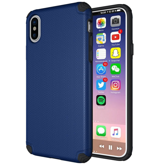 Baozai Hybrid Rugged Shockproof Protective Case for Apple iPhone X, Navy