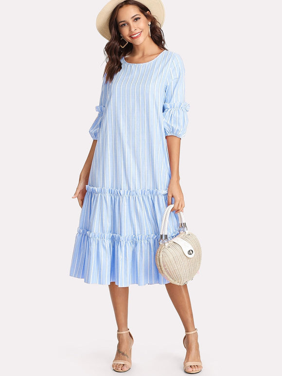 Vertical Striped Frill Embellished Swing Dress