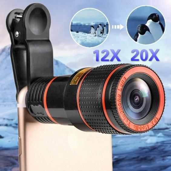 12x 20x HD Clip-on Zoom Optical Telescope Camera Lens Universal for Smartphone
