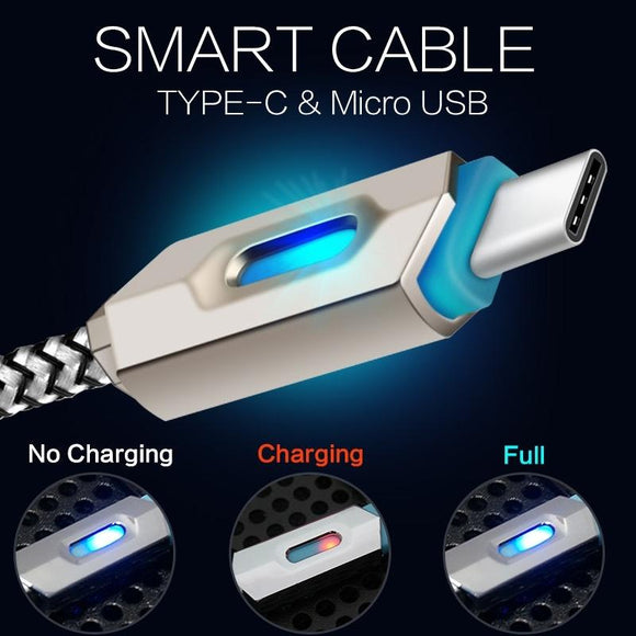 USB3.1 Nylon Braided Lights LED Micro USB Cable Android Sync Data Cable Type-C Fast Charging Cables Phone Upgrades