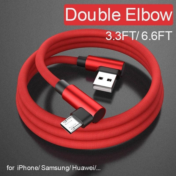 L Bending USB Cable Fast Charging Braided Cable Micro USB Type C For iPhone Samsung HTC Huawei Xiaomi