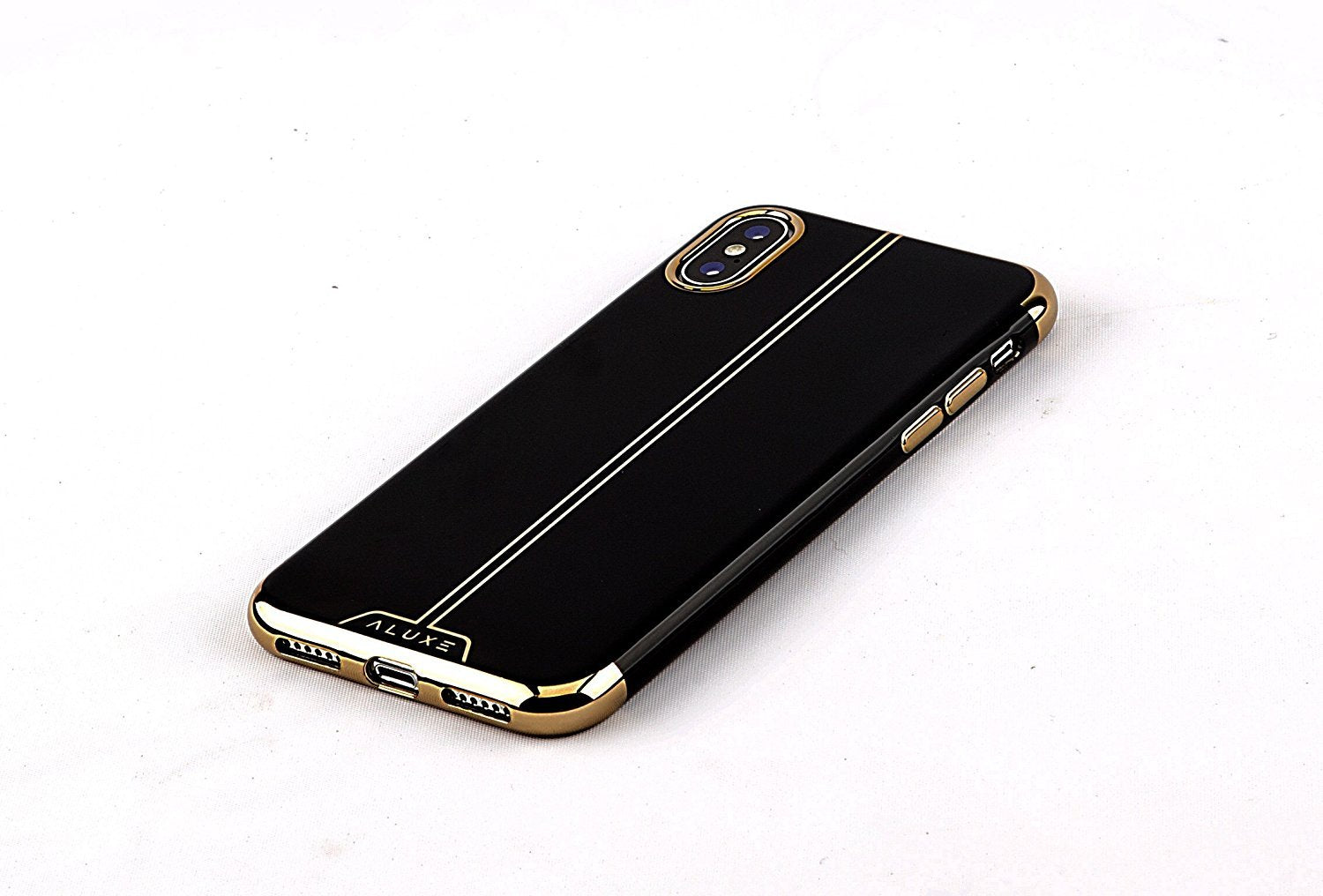 sports shoes 96dde 47134 Aluxe - iPhone X case Black and Gold designer / iPhone 10 Electroplated  Slim Fit Lightweight Soft TPU Cover- Ultra Durable luxury protective  Silicone ...