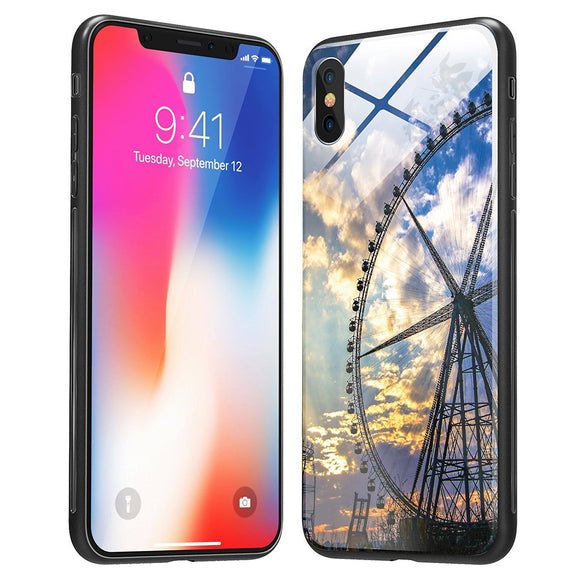 iPhone X Case, iPhone 10 Case, Soft TPU Case with Anti-Scratch Tempered Glass Back cover and Anti-slip overall protection Bumper for Apple iPhone X (Ferris wheel )