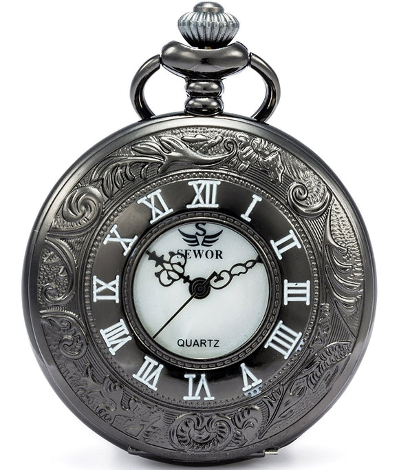 SEWOR Hollow Vintage Quartz Pocket Watch Shell Dial With Two Type Chain(Leather+Metal)