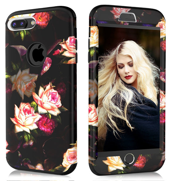 iPhone 7 Plus Case, iPhone 8 Plus Case,ADCOOG [Flower] Three Layers heavy duty Case for Girls/Women Hybrid Protective Floral Case for iPhone 7 Plus,iPhone 8 Plus (Black+Peony)
