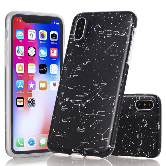 iPhone X Marble Case, Wastou Marble Pattern Slim Fit Soft Flexible TPU Matte Silicone Protective Phone Cover [Support Wireless Charging] for Apple iPhone X (2017) (Star Sign)
