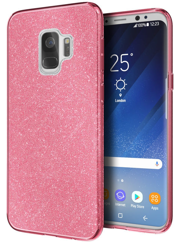 Cimo Sparkle Galaxy S9 Case with Premium Slim TPU and Triple-Layer Protection for Samsung Galaxy S9 - Pink