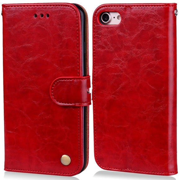 iPhone 8 Cell Phone case, iPhone 7 Flip Wallet Case, Luxury PU Leather Cover with Card Slots and Stand (RED)