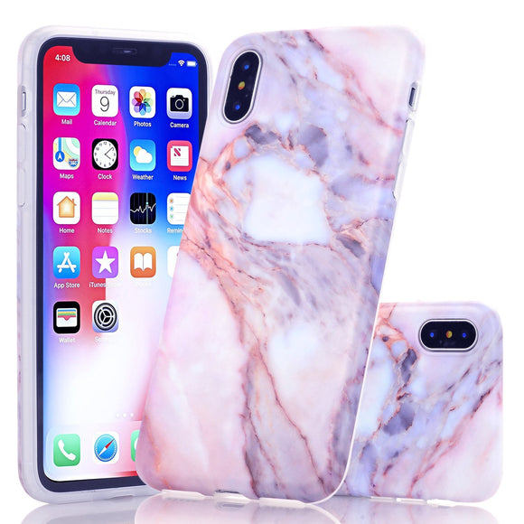 iPhone X Marble Case, Wastou Marble Pattern Slim Fit Soft Flexible TPU Matte Silicone Protective Phone Cover [Support Wireless Charging] for Apple iPhone X (2017) (Color Stone)