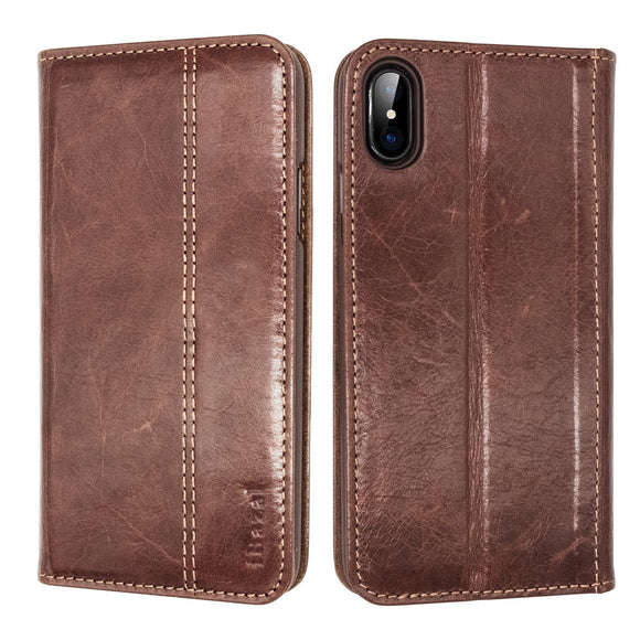 iPhone X Case, iBazal Stand Folio Leather Case, Vintage Handmade Genuine Leather Flip Case with magnetic Closure for iPhone X / iPhone 10 5.8'' (2017) - Brown