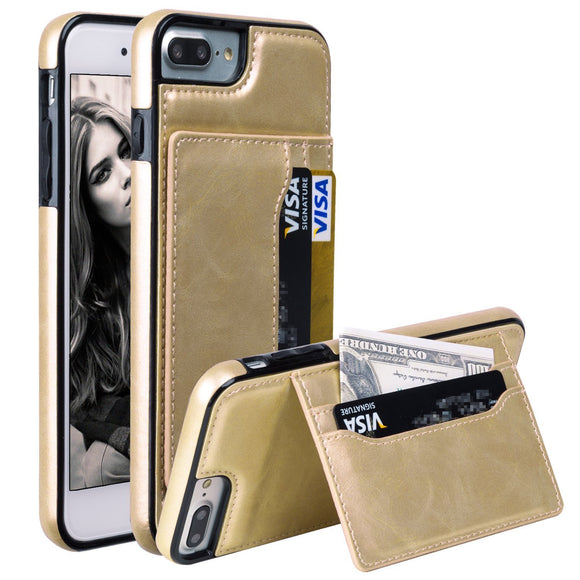 iPhone 8 Plus & iPhone 7 Plus Case, ZB Shock Absorbent Premium PU Leather Soft Flexible TPU Kickstand Case with Credit Card/ID Cash Slots for Apple iPhone 8 Plus & Apple iPhone 7 Plus [Gold]
