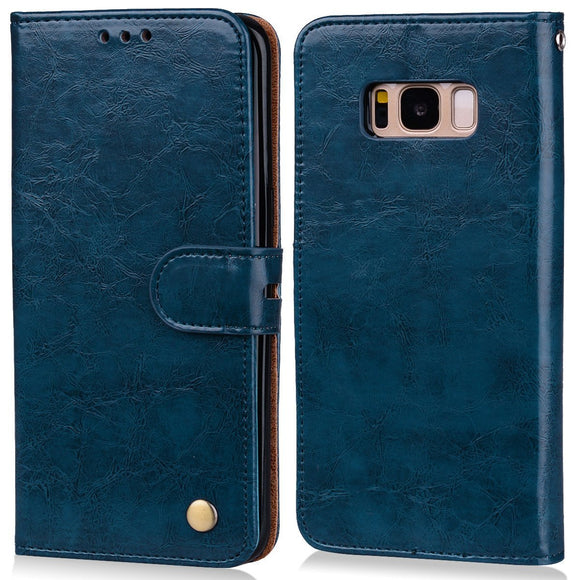 Samsung Galaxy S8 PU Leather Protection Case, Flip Wallet case cover, Luxury PU Leather Case, Magnetic enhanced flip Cover with Card Slots and Folding Stand, BLUE