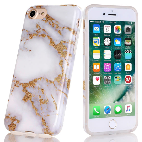 iPhone 7 Case, Kasawa Marble Pattern Slim Fit Flexible Glossy Soft TPU Rubber Silicone Phone Case for Apple iPhone 7 & iPhone 8 (Dark White Gold)
