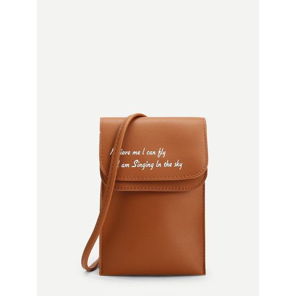 Letter Print Flap PU Shoulder Bag