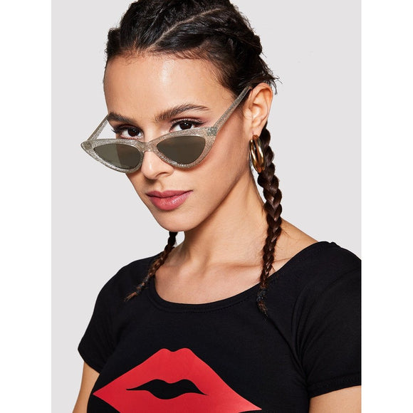 Cat Eye Mirror Lens Sunglasses