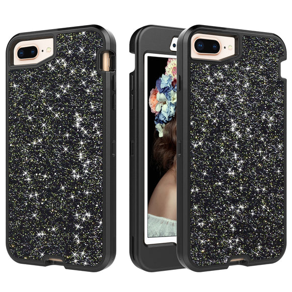 iPhone 8 Plus Case,iPhone 7 Plus Case,Dailylux Shockproof Luxury Sleek Glitter Sparkly Bling Cute Shiny 3 in 1 Soft TPU Bumper Hybrid Hard PC Protective Phone Cover for Girls & Women,Black