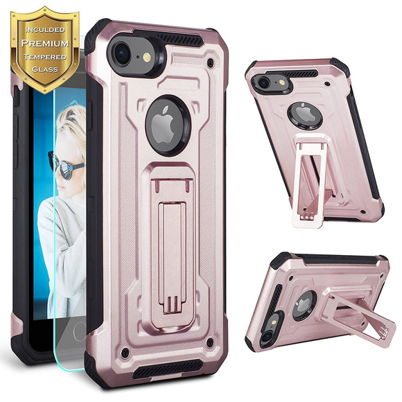 iPhone 8 Case, iPhone 7 Case, Kickstand Case [Vertical and Horizontal Stand] [Reinforced Drop Protection] Hard PC Back with Flexible TPU Bumper for iPhone 4.7 inches - Rose gold